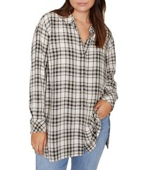 plus size women's sanctuary stone plaid tunic shirt