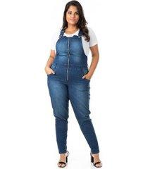 jardineira jeans com zíper plus size confidencial extra feminino