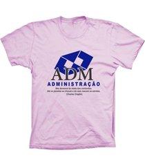 camiseta lu geek manga curta administração rosa