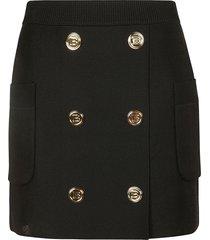 balmain ribbed waist side pocket short skirt