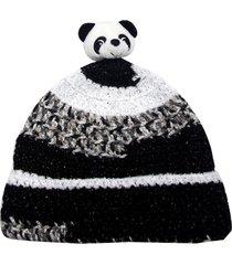 gorro smm acessórios panda branco e preto