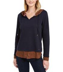 tommy hilfiger layered-look hooded sweatshirt