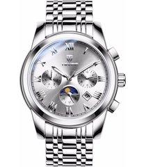 reloj, relojes mecánico automático de acero del-blanco