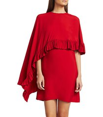 flounce trim cape dress