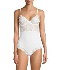 la perla women's lace underwire bodysuit - white - size 34 c