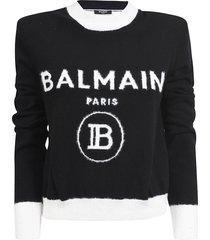 balmain logo knit sweater