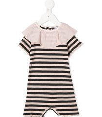 violeta e federico striped ruffled neck shortie - pink