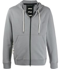 craig green lace-up detail zip-up hoodie - grey