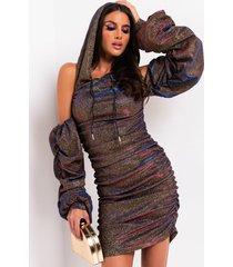 akira pop it shimmer stacked sleeve hoodie dress