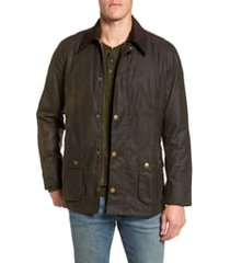 men's barbour ashby wax jacket, size small - green