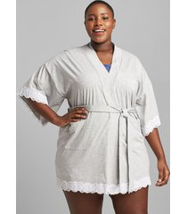 lane bryant women's lace-trim kimono robe 22/24 grey
