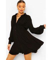 dobby blouse jurk met geplooide shoulder, zwart