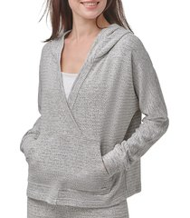 marc new york performance women's beach fleece surplice hoodie - grey - size s