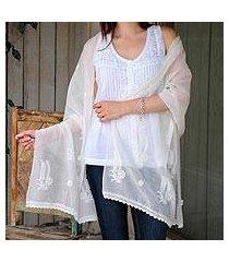 cotton and silk shawl, 'ivory ferns' (india)