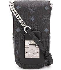 mcm all-over logo crossbody bag - black