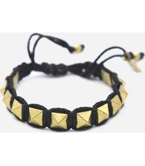 valentino garavani rockstud bracelet in waxed cotton and metal