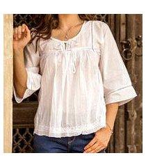 cotton blouse, 'floral mist' (india)