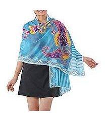 cotton batik shawl, 'paradise garden' (thailand)