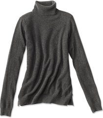 classic cashmere turtleneck sweater, dark charcoal, x large