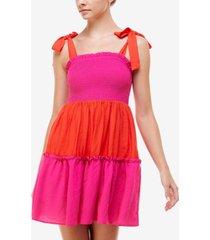 q & a colorblocked smocked mini dress