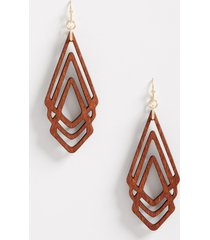 maurices womens triange wood overlay drop earrings brown