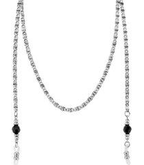 "2028 silver-tone chain black bead eyeglass holder 30"""