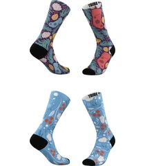 women's tribe socks assorted 2-pack socks on socks & holly crew socks, size one size - blue