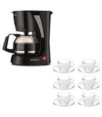 kit 1 cafeteira pratic mondial faz 17 xicaras de café 110v e 1 jogo de 6 xícaras 90ml com pires