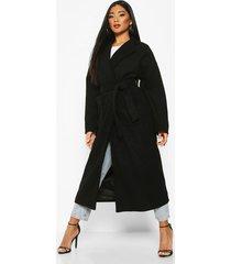 oversized pocket belted maxi wool look coat, black