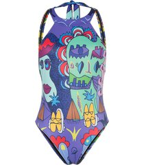 ellie rassia printed high neck backless swimsuit - multicolour