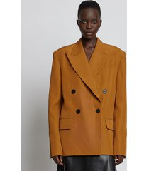 proenza schouler viscose silk split collar blazer /brown 8