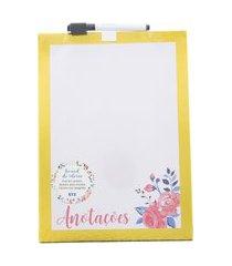 quadro de recados stz board de ideias floral amarelo