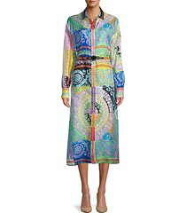 printed silk belted dress