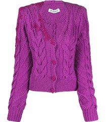 almaz velvet detail cardigan - purple