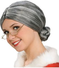 peluca de fantasía abuelita, anciana con moño, viejita - gris