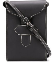 maison margiela contrast stitched messenger bag - black