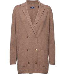 o1. cardy blazer stickad tröja cardigan brun gant