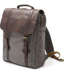 mochila para hombre, lona y cuero mochila unisex vintage mochila-gris