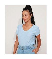 camiseta flamê de algodão básica manga curta decote v v azul