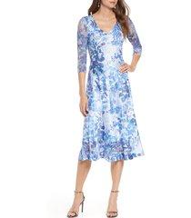 women's komarov charmeuse & chiffon a-line dress