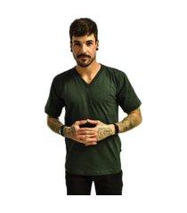 camiseta rich young gola v básica lisa verde escuro