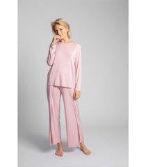 blouse lalupa la027 viscose longsleeve met open rug - roze