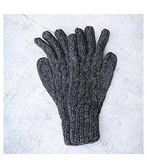 100% alpaca gloves, 'lush grey' (peru)