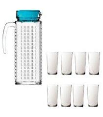 kit 1 jarra vidro ladrilhos azul 1,2l e 8 copos de vidro long sture móveis