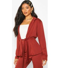 recycled easy wear tie front blazer, berry