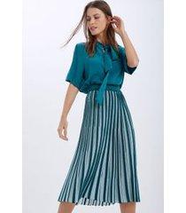 saia tricot bicolor com lurex verde jade/ azul