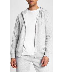 river island mens prolific grey marl zip front slim fit hoodie