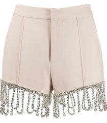 area piped seam embellished-fringe shorts - neutrals