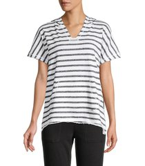 marc new york performance women's striped hooded pullover top - white grey - size l