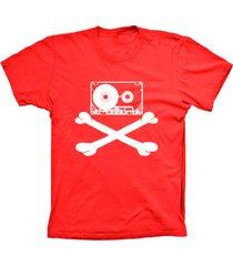 camiseta baby look lu geek fita caveira vermelho - vermelho - feminino - dafiti